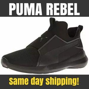 Women's Puma Rebel Mid Black Slip On Running Shoe
